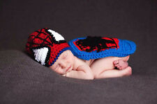 New baby Spider-man suit Newborn Knit Crochet Clothes Photo Prop outfit
