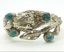 China Export Turquoise Dragon Sterling Silver 925 Bracelet 39g 6.5'' BAl091