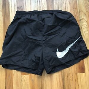 Men's Vintage 90's Nike Big Check Logo Swim Truck Lined Black White Shorts Sz L