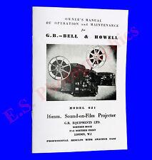 Graham Brown Bell & Howell 621 16mm sonido cine Proyector Libro De Instrucciones