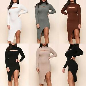 Women's Ladies Knitted Side Slit Dress Ribbed Fashion Cut Out Midi Dresses