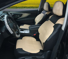 2 Front Car Seat Covers Black/Tan Leatherette - Universal Fit #153