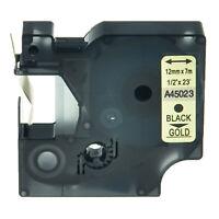 12mm Beschriftungsbänder Schwarz auf Gold Etikettenband für DYMO D1 45023 LM 160