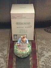 """Rare Vintage Schmid Beatrix Potter Mrs Rabbit - 5 1/2""""h Music Box #48960 Nos"""