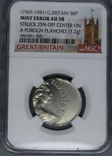 Great Britain 1969-1981 50p pence error struck 25% off centre on a foreign planc
