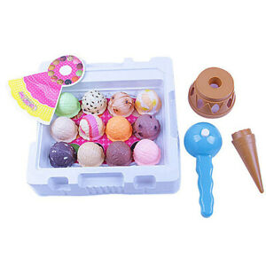Kids Ice Cream and Cake Play Set Food Pretend Play Large Cones Scoops Cakes