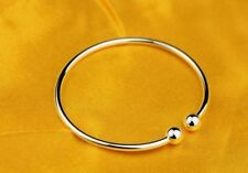 New Women Fashion Jewelry 925 Sterling Silver Dainty Bead Cuff  Bangle Bracelet