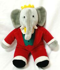 Babar Elephant Plush Stuffed Animal Gund Red Suit Yellow Crown Bowtie 14""