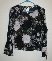 Lucky Brand Black Sheer Floral Ruffle Trim Tie Sleeve Top Blouse Plus Size XS