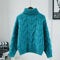 Women Turtle Neck Chunky Cable Knit Jumper Braid Loose Sweater Pullover Top Blue