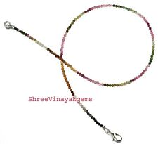 """925 Sterling Silver 18"""" Strand Necklaces Multi Tourmaline Gemstone 2mm Beads JH5"""