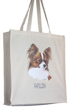More details for papillon breed of dog h cotton shopping tote bag long handles perfect gift