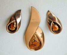 MOD Vintage Signed Matisse Renoir Abstract Copper Enamel Brooch & Clip Earrings
