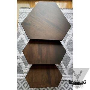 Brown Side Coffee Tables Set Of 3 Maple Wood Stained & Lacquered Matt Finish