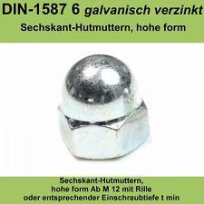 M3 DIN 1587 Hutmuttern verzinkte Sechskantmuttern hohe Form Stahl Hoch 20-500 St