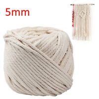 5mm Natural Beige Cotton Twisted Cord Ropes Macrame String Artisan DIY Craft 65m