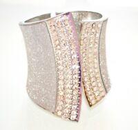 PULSERA esclave plata mujer brazalete rígido diamante de imitación armband A72