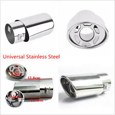 Car Racing Chrome Silver Stainless Steel Tail Round Exhaust Pipe Tip End Muffler