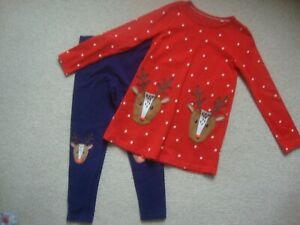 Mini Boden girl's Christmas reindeer tunic top and leggings 6-7 and 7-8