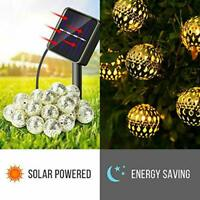 20/30/50 Solar String Lights Moroccan Metal Ball Outdoor Xmas Fairy Lamp Decor