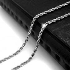 4mm  New Mens Womens Stainless Steel Silver Twist Curb Link Chain Necklace Hot