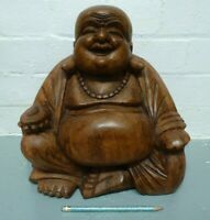 """Large 12"""" wooden wood hand carved Happy Monk statue sculpture Buddha Buddhist"""