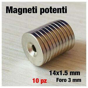 10 MAGNETI NEODIMIO 14X1.5 MM CALAMITA POTENTE FIMO CERAMICA FORO 3MM FORTE