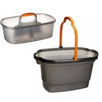 4 Gallon Collaborated Bucket & Nesting Storage Caddy Set w/ Carry Handle/Channel