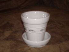 Longaberger Heritage Green Small Flower Pot - Made in Usa