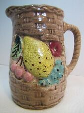 Old Majolica Basket Weave Fruit Pottery Pitcher double sided decorated ornate