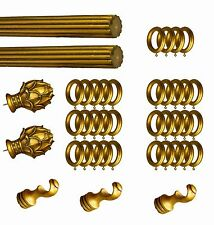 """1 Set of 145"""" Curtain Drapery Rod Wood/Rasin Antique-gold Color Fluted Design"""