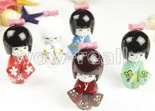 """new 5pcs Japanese Creative KOKESHI Wooden Doll Girl 3.5""""Dream Flower"""