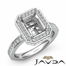 Pave Set Diamond Engagement Ring Emerald Semi Mount Platinum 950 VS1-VS2 0.89Ct