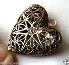 5 Antique Copper Filigree Heart Locket Charm Pendants 25x24x6mm