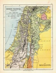 1878 VICTORIAN MAP ~ MODERN PALESTINE (PHYSICAL) BAHR LUT etc
