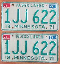 Minnesota 1973 License Plate PAIR # 1JJ 622