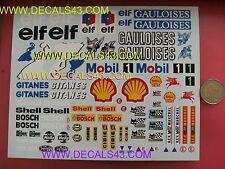 decals decalcomanie big planche 1/18 elf gitanes gauloises shell bosch mobil