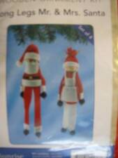 Long Legs Mr & Mrs Santa Wooden Ornament Kit Makes 4 of 2.25x8/9 Inches Finished