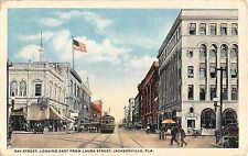 1917 Stores Trolley Bay St. looking East from Laura St. Jacksonville FL postcard