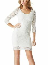 Guess Women`s Ladies Lace White Long Sleeve Party Pencil Dress Size Medium