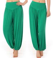 Womens Plain Harem Yoga Pants Ali Baba Baggy Leggings Trousers Aladin Boho Hippy
