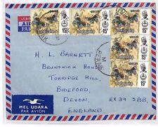 BP141 1977 MALAYSIA *Teluk Anson* Commercial Airmail Cover Devon BUTTERFLIES