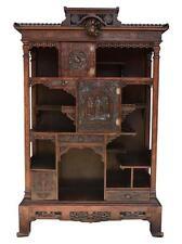 Cabinet sculpté asiatique en bois noirci dans le goût de Gabriel Viardot XIXème