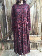 Vtg Laura Ashley Country Floral Maxi Victorian Prairie Long Fall Modest Dress