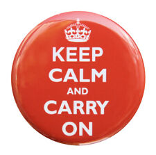 """KEEP CALM AND CARRY ON RED - Button Pinback Badge 1.5"""""""