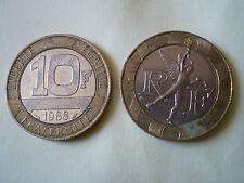 2 PIECES de 10 FRANCS GENIE DE LA BASTILLE de 1988