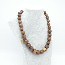 Natural Wood Beads Necklace Graduated Teak Tone Chunky Retro Danish Style Arty