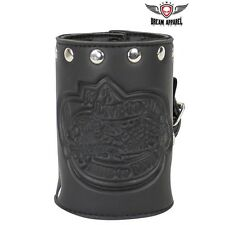 Leather Motorcycle Cup Holder With Stud Made from Genuine Leather NEW DEAL