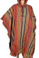 Unisex Nepal Peru Tibetan Heavy Cotton Warm Winter Poncho Festival Wear Baja