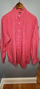 Ralph Lauren Classic Fit Checkered Long Sleeve Button Down Shirt EUC LN Red Mens